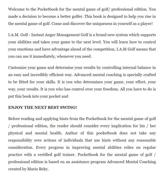 Pocketbook for the mental game of golf Professional edition Kindle 2