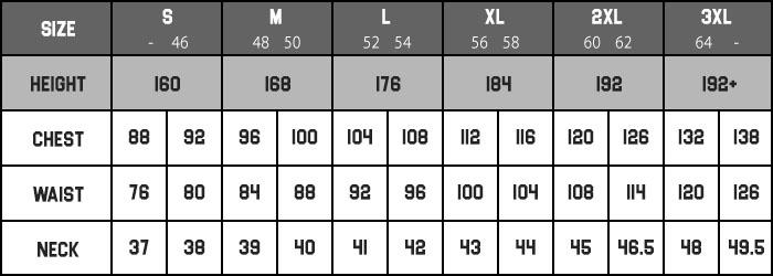 apparel size CHART MARIOBEKY MEN