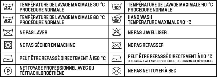 Tailles de vêtements MARIOBEKY Soins étiquette